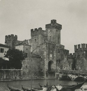 Italy Lake Garda Sirmione castle of Scaliger Old NPG Stereoview Photo 1900