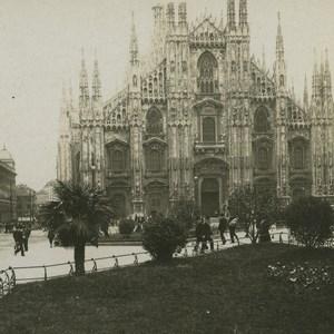 Italie Milan le Dôme ancienne photo stereo NPG 1900
