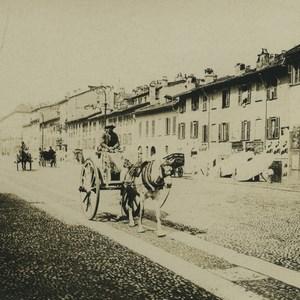Italie Charette ancienne photo stereo NPG 1900