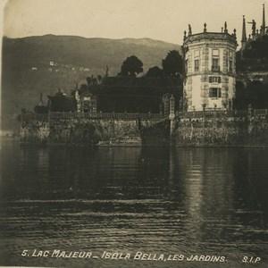 Italie Lac Maggiorre Isola Bella ancienne photo stereo SIP 1900
