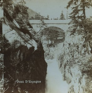 France Pyrenees Pont d'Espagne Bridge Old Stereoview Photo Viron 1880