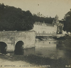 France Brantome Abbaye Abbey old Bridge Old Stereoview Photo SIP 1910