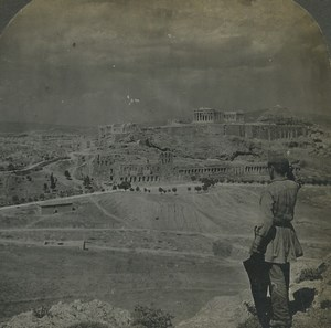 Greece Athens panorama Acropolis Old Keystone View Stereoview Photo 1906