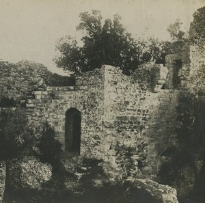 France Hyeres le Château Ruines Ancienne photo stereo SIP 1910