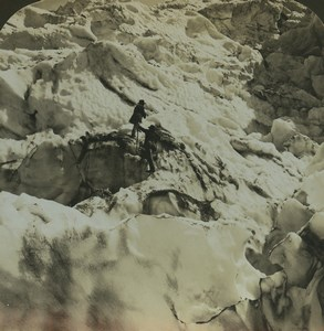 France Chamonix glacier des Bossons ancienne photo stereo HC White 1900