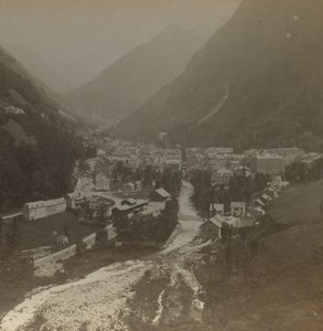 France Pyrenees Cauterets panorama Old Stereoview Photo Viron 1880