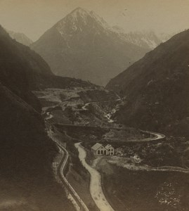 France Pyrenees Cauterets Limacons Windy roads Old Stereoview Photo Viron 1880