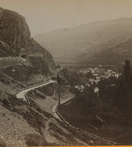 France Route de Cauterets panorama Tunnel Old Stereoview Photo Viron 1880