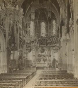 France Lourdes Basilica interior Old Stereoview Photo Viron 1880
