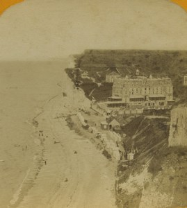France Dieppe Puys plage & Casino ancienne photo stereo 1880