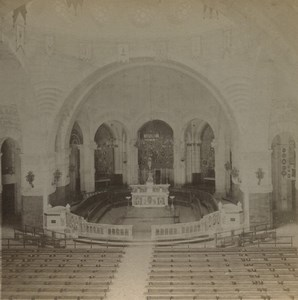 France Lourdes chapel interior Rosaire Old Stereoview Photo Viron 1880