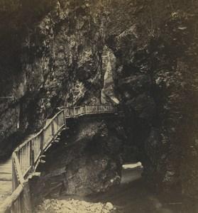 Switzerland Gorge du Trient Old Stereoview Photo Tairraz Freres 1870