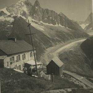 France Alps la Flegere & l'Aiguille Verte Old Wehrli Stereoview Photo 1900
