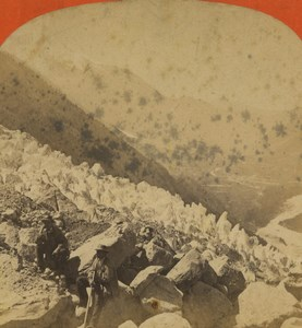 France Alps Chamonix Valley Glacier des Bois Old Stereoview Photo Lamy 1880