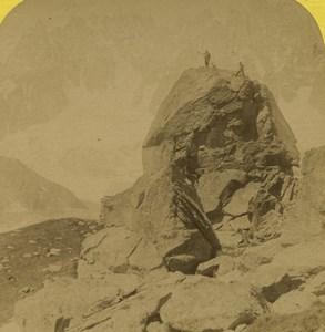 France Alps Chamonix Pierre de Beranger Old Stereoview Photo BK 1880