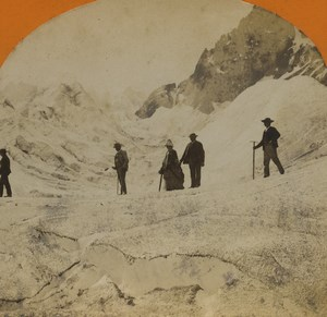 France Alps Chamonix Mer de Glace Glacier Old Stereoview Photo Jullien 1880
