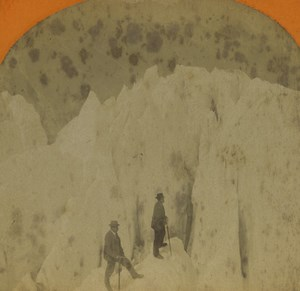 France Alps Chamonix Glacier des Bossons Serac Old Stereoview Photo Jullien 1880