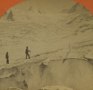 France Alps Chamonix Col du Géant Old Stereoview Photo Jullien 1880