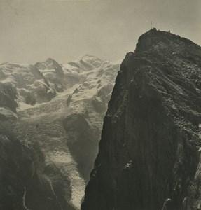 France Alps Chamonix Brevent Mont Blanc Old Stereoview Photo Wehrli 1900