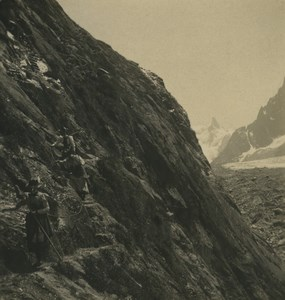 France Alps Chamonix Mer de Glace Mauvais Pas Old Stereoview Photo Wehrli 1900