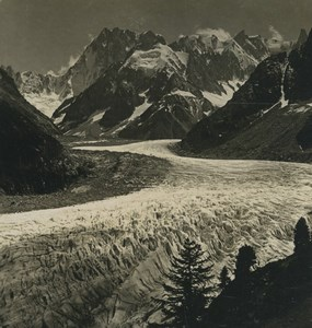 France Alps Chamonix Mer de Glace Glacier Old Stereoview Photo Wehrli 1900