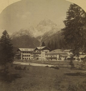 Italy South Tyrol Schluderbach Ampezzo Old Stereoview Photo Gratl 1880