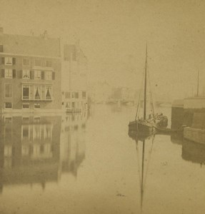Pays Bas Canal et Peniche ancienne photo stereo 1880
