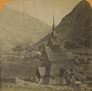 Norway Borgund Stave Kirke church Old Stereoview Photo 1880