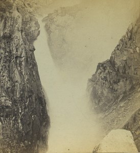 Norway Waterfall Chutes d'eau Old Stereoview Photo Gercke 1880