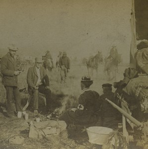 South Africa Red Cross in Camp on the Veld Old Stereoview Photo Kilburn 1900