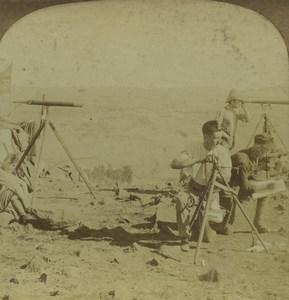 South Africa Natal Dundee Talana Hill Heliograph Stereoview Photo Wright 1900