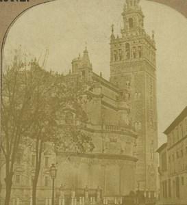Espagne Seville Cathédrale Notre-Dame du Siège La Giralda ancienne photo stereo 1860