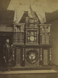 USA Philadelphie Horloge monumentale Engle et Constructeur ancienne photo stereo 1876