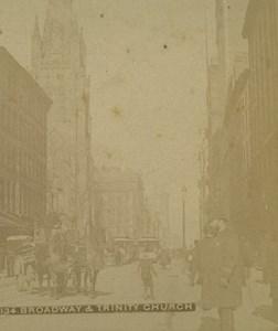 USA New York Broadway & Trinity Church Old Stereoview Photo 1880