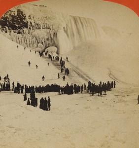 USA Winter Sports at Niagara Falls Coasting Old Stereoview Photo Geo Curtis 1880