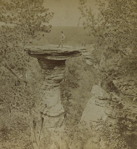 USA Wisconsin Stand Rock Dalles of St Croix Old Stereoview Photo Kilburn 1895