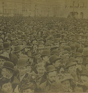 USA Chicago Columbian Exposition Opening Crowd Old Stereoview Photo Kilburn 1893