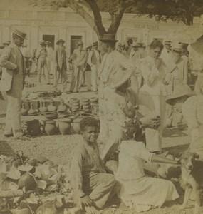 Puerto Rico Ponce Coconut Cocoanut Market Old Stereoview Photo Kilburn 1899