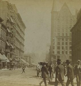 USA Chicago Street Pedestrians Old Stereoview Photo Kilburn 1890