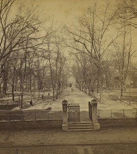 USA Philadelphia Independence Hall back Gardens Old Stereoview Photo Cremer 1876