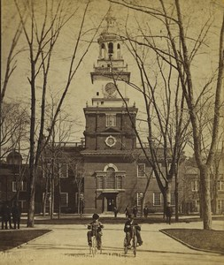 USA Philadelphia Independence Hall Kids on Tricycle Stereoview Photo Cremer 1876