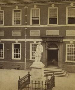 USA Philadelphia Independence Hall Washington Statue ancienne photo stereo Cremer 1876
