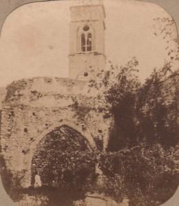 Italy Ravello Tower Maurish ruins near Naples Old Stereo Photo Radiguet 1859