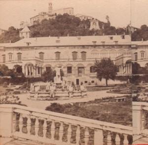 Italy Genoa gardens Old Stereo Photo Alfredo Noack 1880