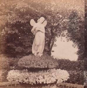 Italy Genoa Villa Pallavicini Statue Old Stereo Photo Noack 1880