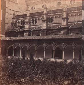 Italy Certosa di Pavia Cloister Old Stereo Photo Noack 1880