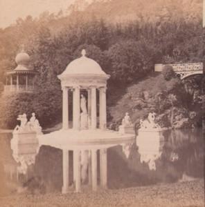 Italy Genoa Villa Pallavicini Temple of Diana Old Stereo Photo Noack 1880