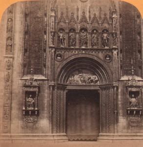 Italy Duomo di Como Cathedral Main door Old Stereo Photo Gaudin 1870