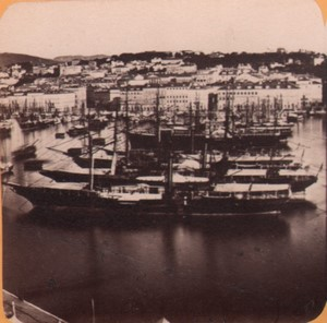 Italy Trieste Harbour panorama Old Stereo Photo 1870