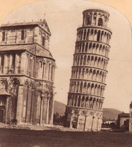 Italy Pisa Cathedral & Leaning Tower Campanile Old Stereo Photo 1860